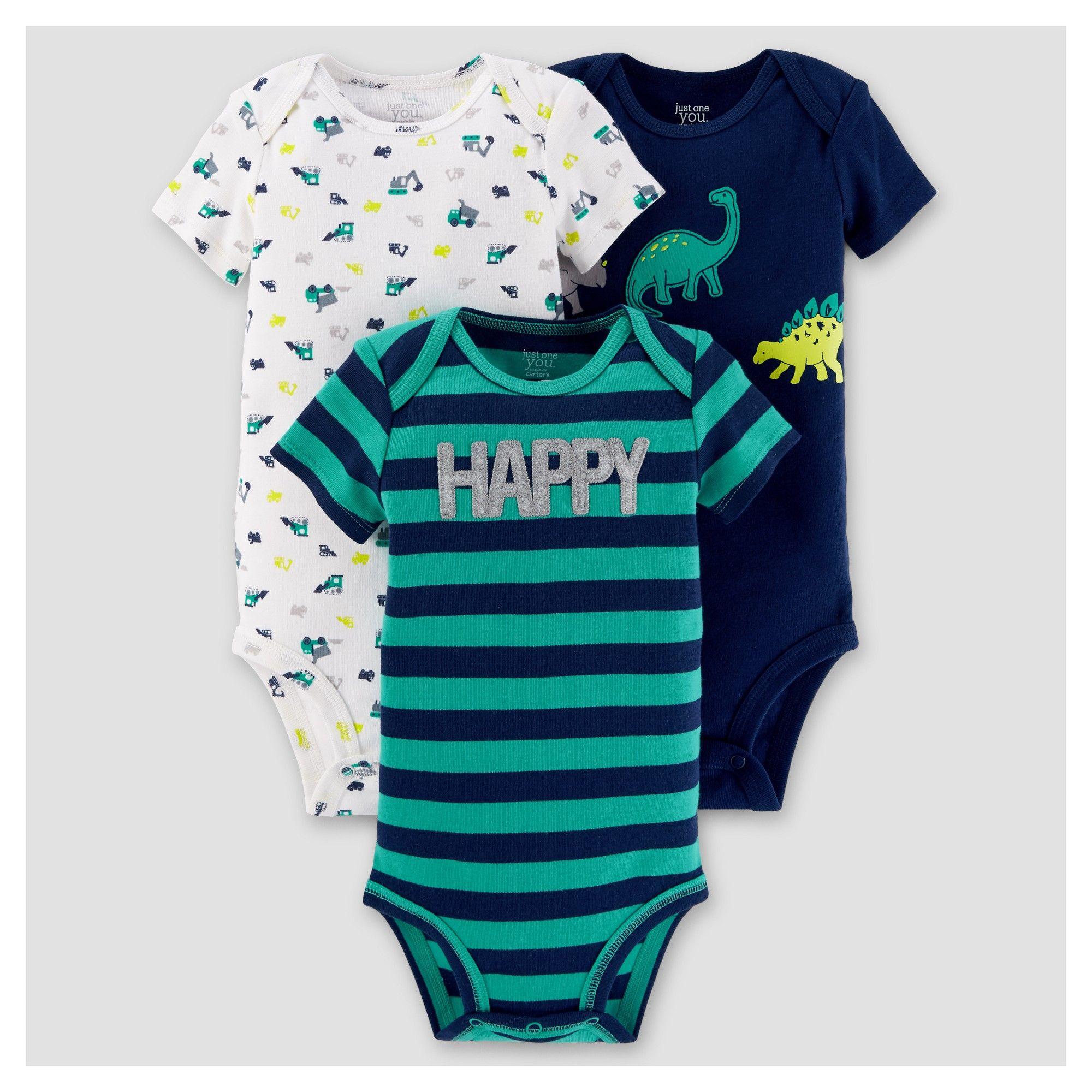 Baby Boys 3pk Short Sleeve Dinosaurs Bodysuit Just e You Made
