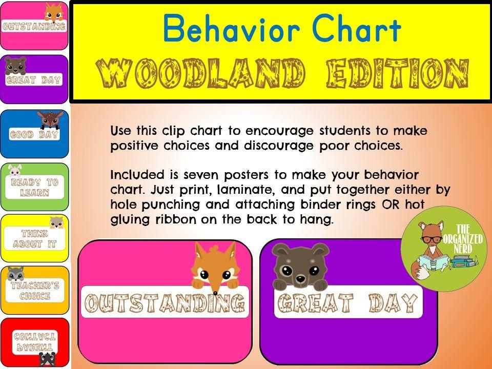 Behavior Clip Chart  Woodland Theme  Behaviour Chart Behavior