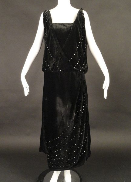 c.1920 Black Velvet & Rhinestone Evening Gown