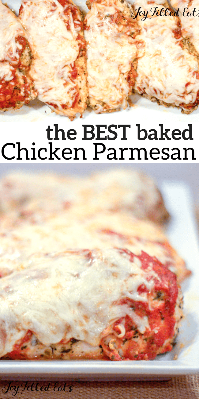Baked Chicken Parmesan - Low Carb, Keto, Grain-Free, Gluten-Free, THM S - Chicken Parm is one of the dishes at every Italian restaurant in the US. I know why: it's delicious! #keto #grainfree #glutenfree #easyrecipes #Italian #thm #trimhealthymama #chicken #chickenrecipes #chickenparmesan