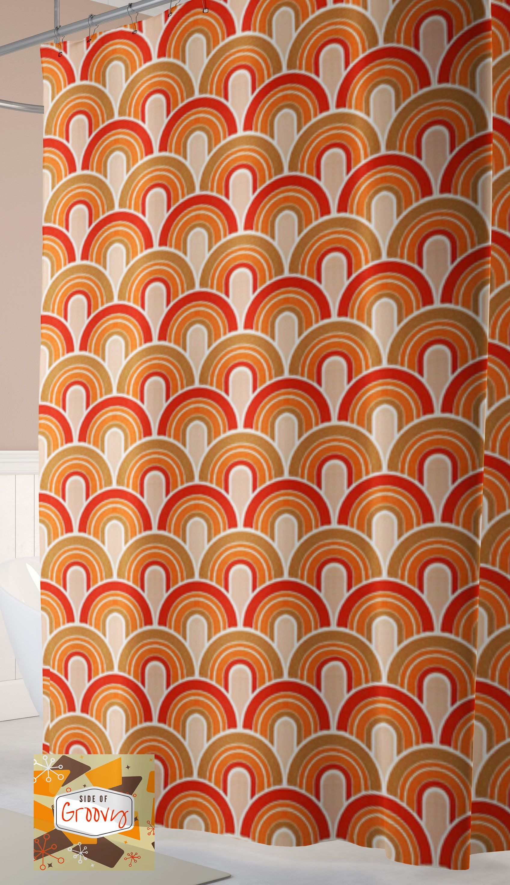Retro Shower Curtain 70s Cool Mid Century Rainbow Vintage By Sideofgroovy