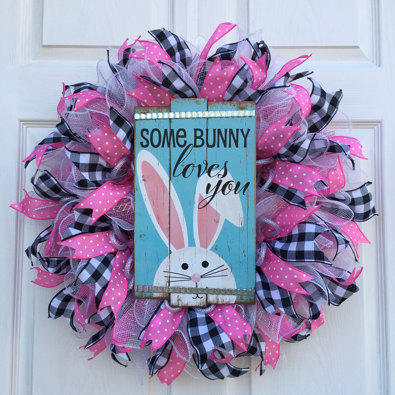 Photo of Every Bunny Welcome Wreath, Easter Wreath, Spring Wreath, Buffalo Check Wreath, Farmhouse Wreath, Front Door Wreath