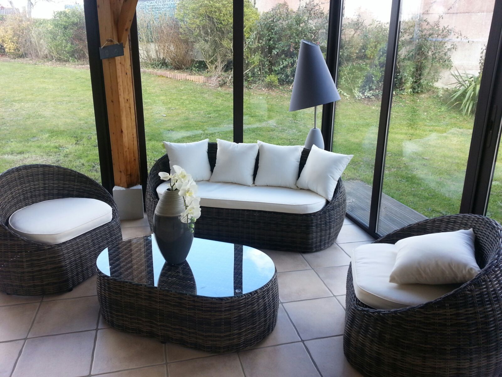 Ritardo salon de jardin 4 places en r sine tress e d co - Mobilier de jardin resine tressee ...