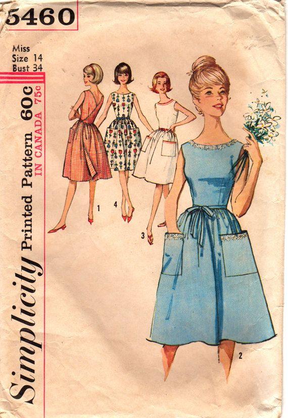 Simplicity 5460 1960s Misses Back Wrap Dress Pattern Full Skirt ...