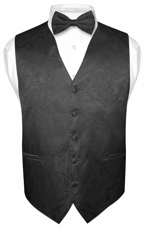Men S Paisley Design Dress Vest Bow Tie Black Bow Tie Set For Suit Tuxedo Mens Dress Vests Vest Dress Vest And Bow Tie [ 1501 x 960 Pixel ]