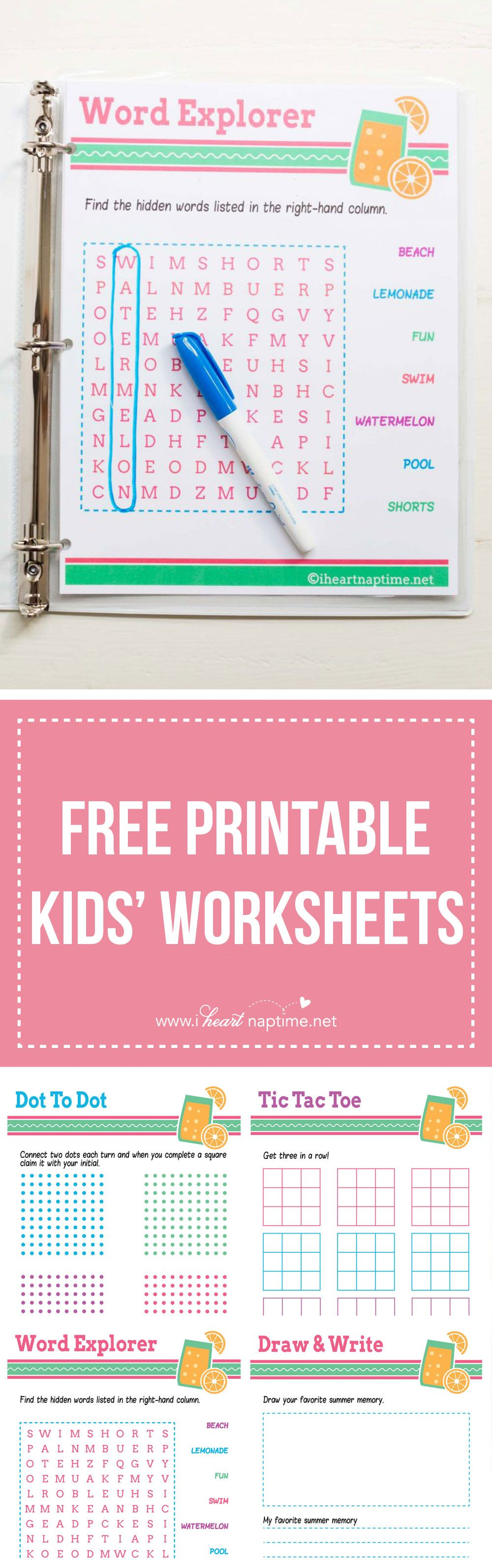 FREE PRINTABLE kids\' worksheets ...perfect for putting in a binder ...