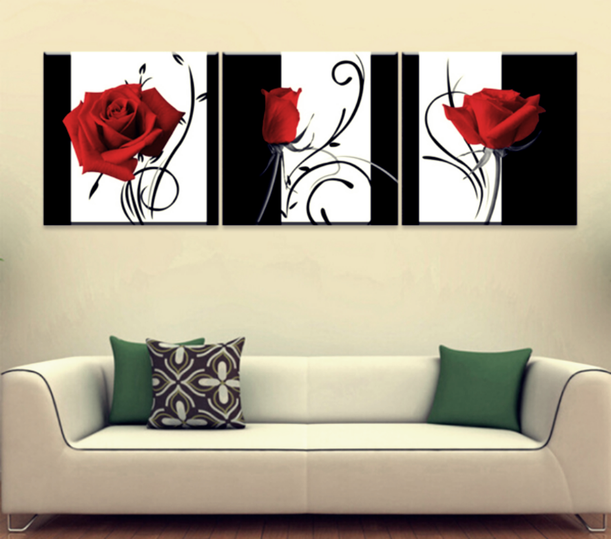 3 quadri moderni rose rosse cm 50x50 new19 quadri nel for Quadri con rose rosse