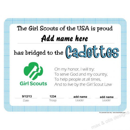 Girl Scout Cadette Bridging Certificate Editable PDF download - Award Certificates Pdf