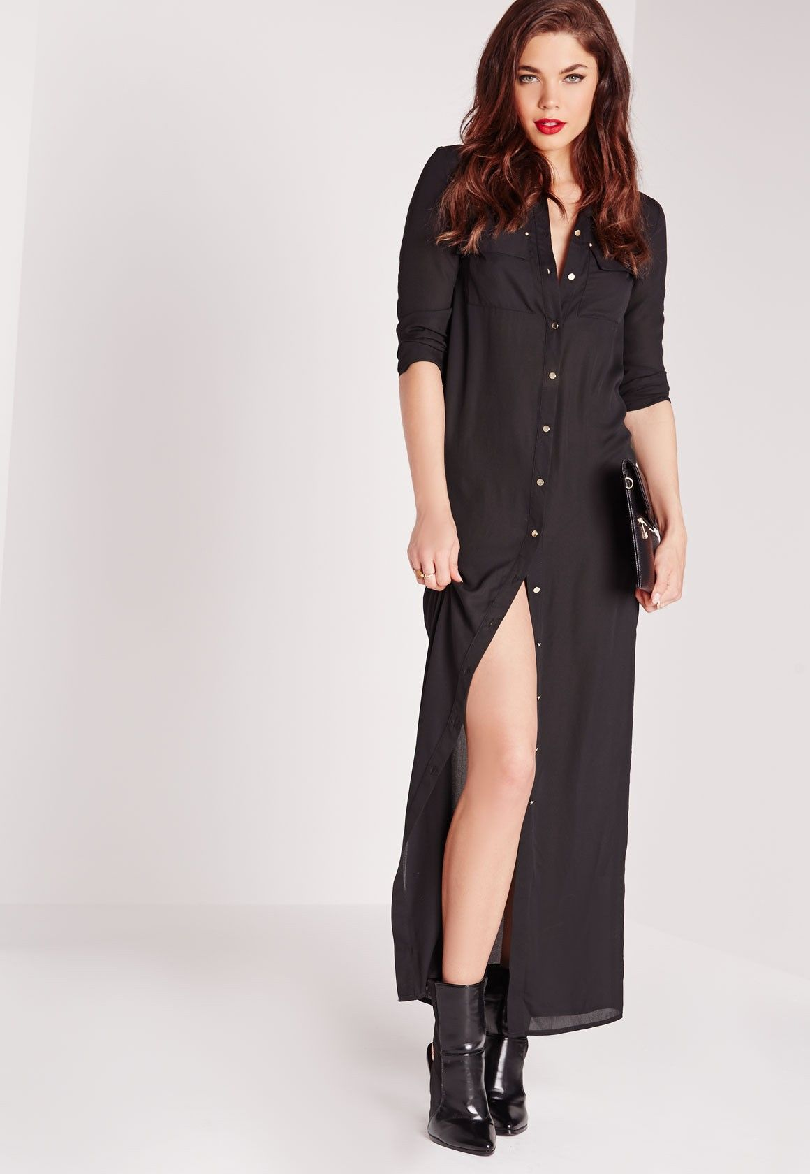 Maxi length long sleeve shirt dress black long sleeve shirt dress