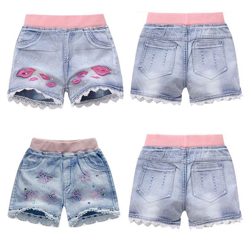 d5c935a93 Girls Denim Shorts Teenage Summer Lace Pants