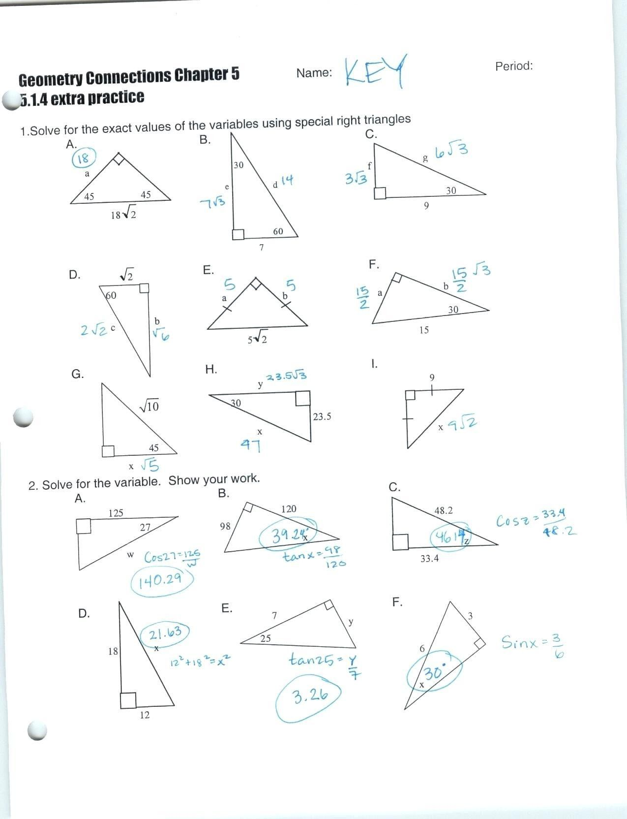 Prime Special Right Triangles Worksheet Answers
