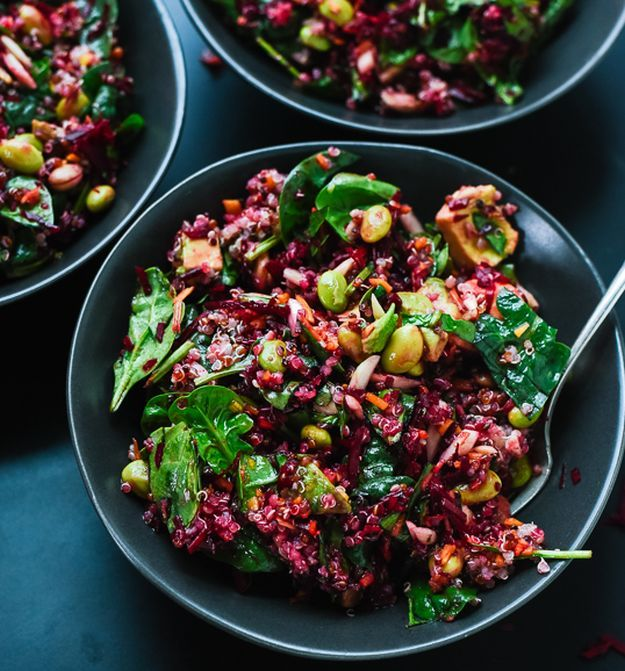 Colorful Beet Salad with Carrot, Quinoa & Spinach   12 Beet Recipes   A Dozen Healthy Recipes That Will Change Your Mind About Beets by Homemade Recipes at http://homemaderecipes.com/cooking-102/healthy-recipes/12-beet-recipes/