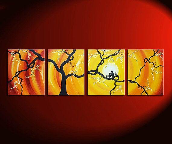 Huge Bird Family Painting Bright Yellow Orange Happy Wall Art Love ...