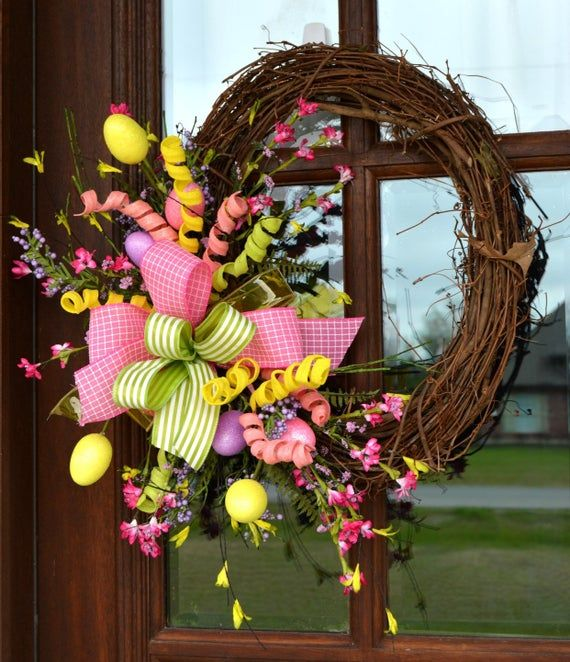 Photo of Pink & yellow Easter egg vine wreath