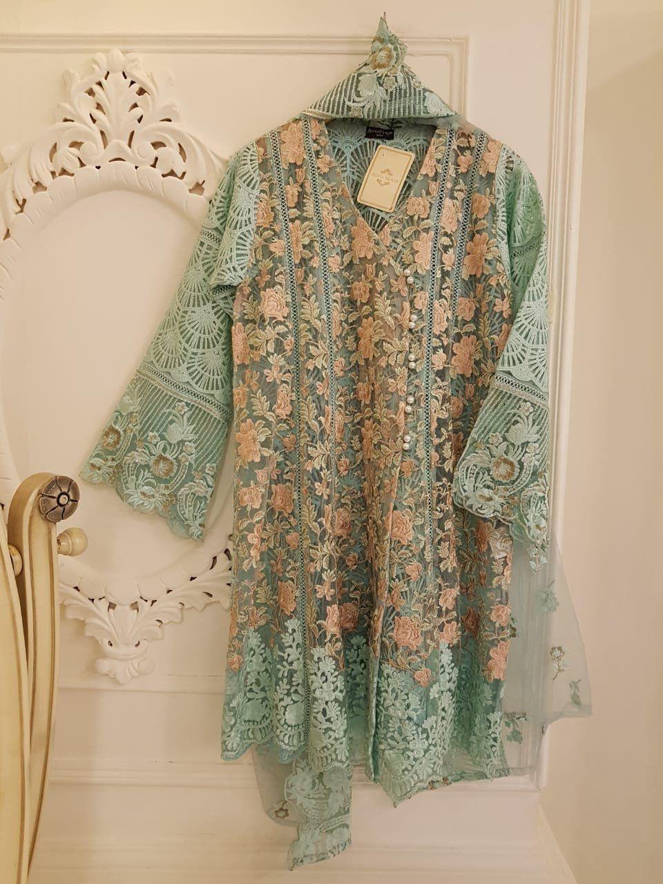 edeebd7972 Pure Chiffon Green Embroidered 3 piece suit, Agha Noor Kurti, Pakistani  Dress, Indian Dress, Bollywood dress by MyChandBali on Etsy