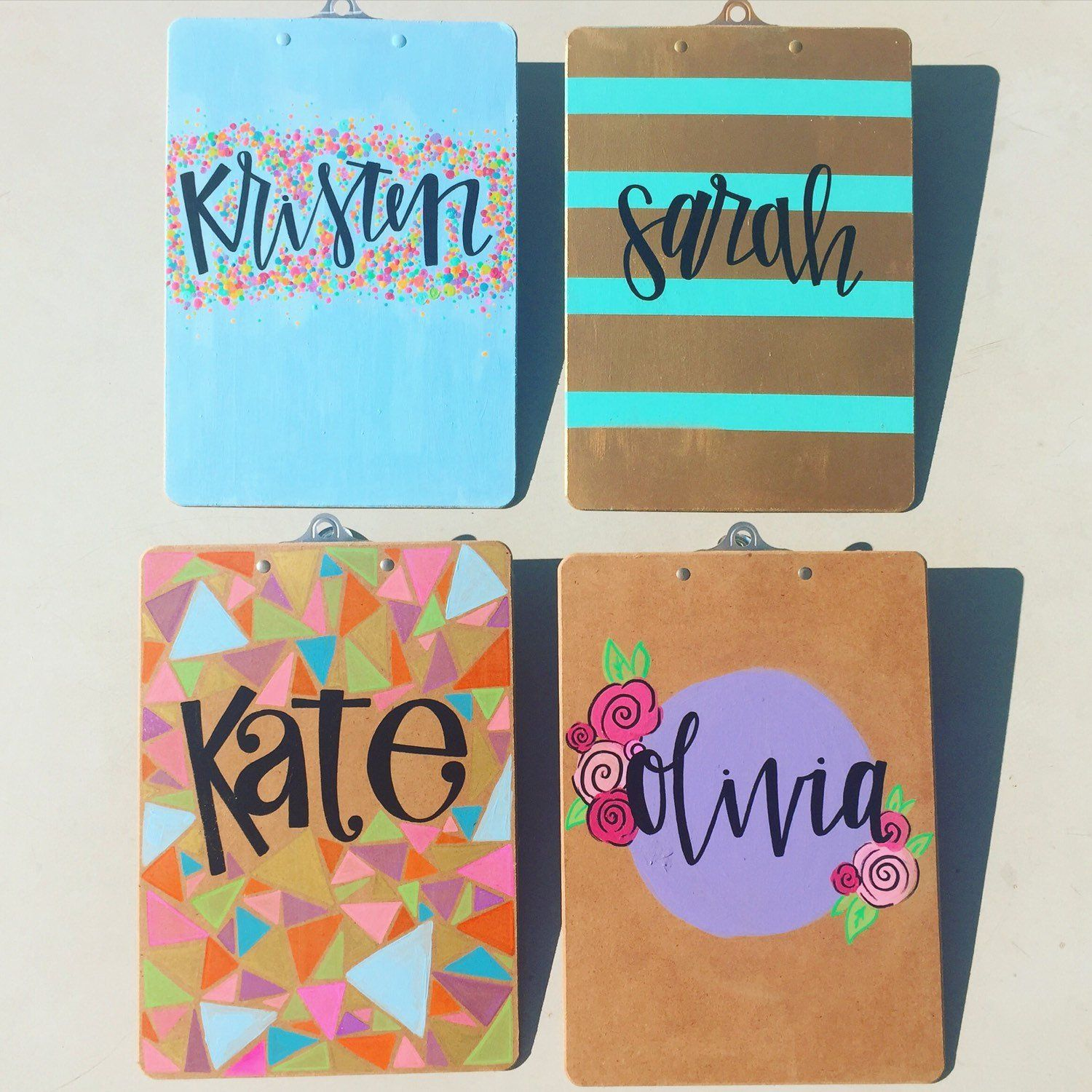 Customized Painted Clip Board Personalized Clipboard Flowers Etsy Personalized Clipboards Clipboard Crafts Clipboard Decorating