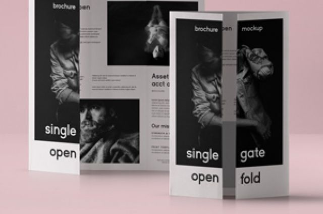 This Is A Single Gate Fold Psd Brochure Mockup Template Compatible With A4  And US Letter