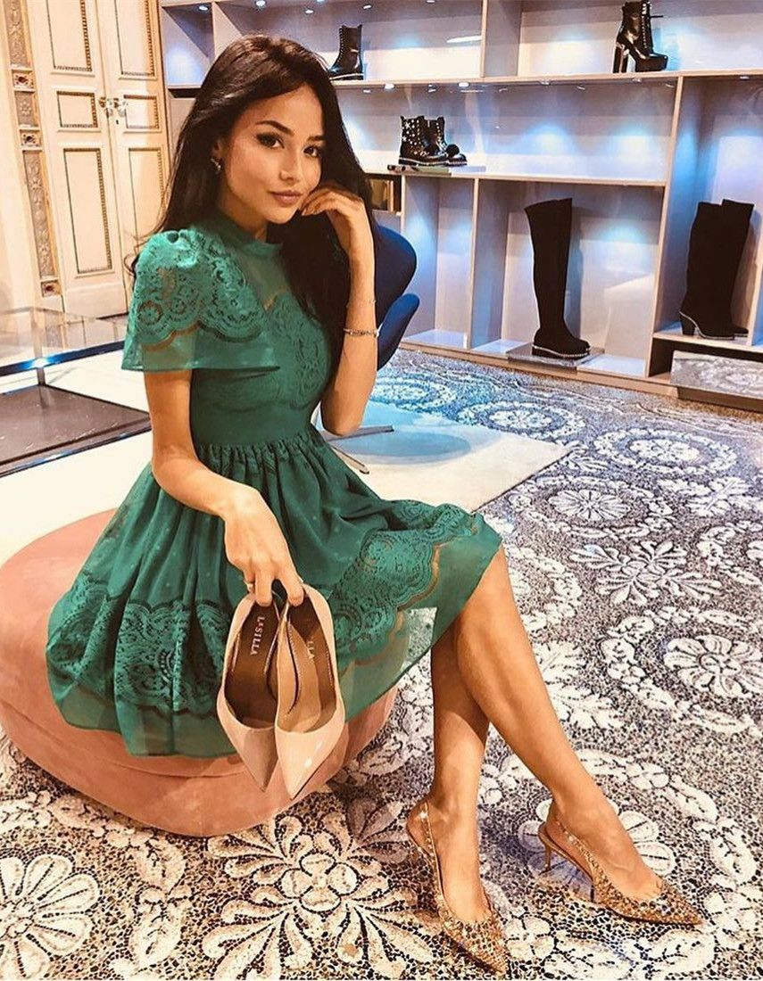 489cca02c8 A-Line High Neck Above Knee Short Sleeves Green Lace Homecoming ...