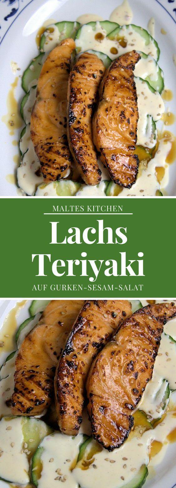Teriyaki-Lachs auf Gurkensalat mit Zitronencreme und Sesam