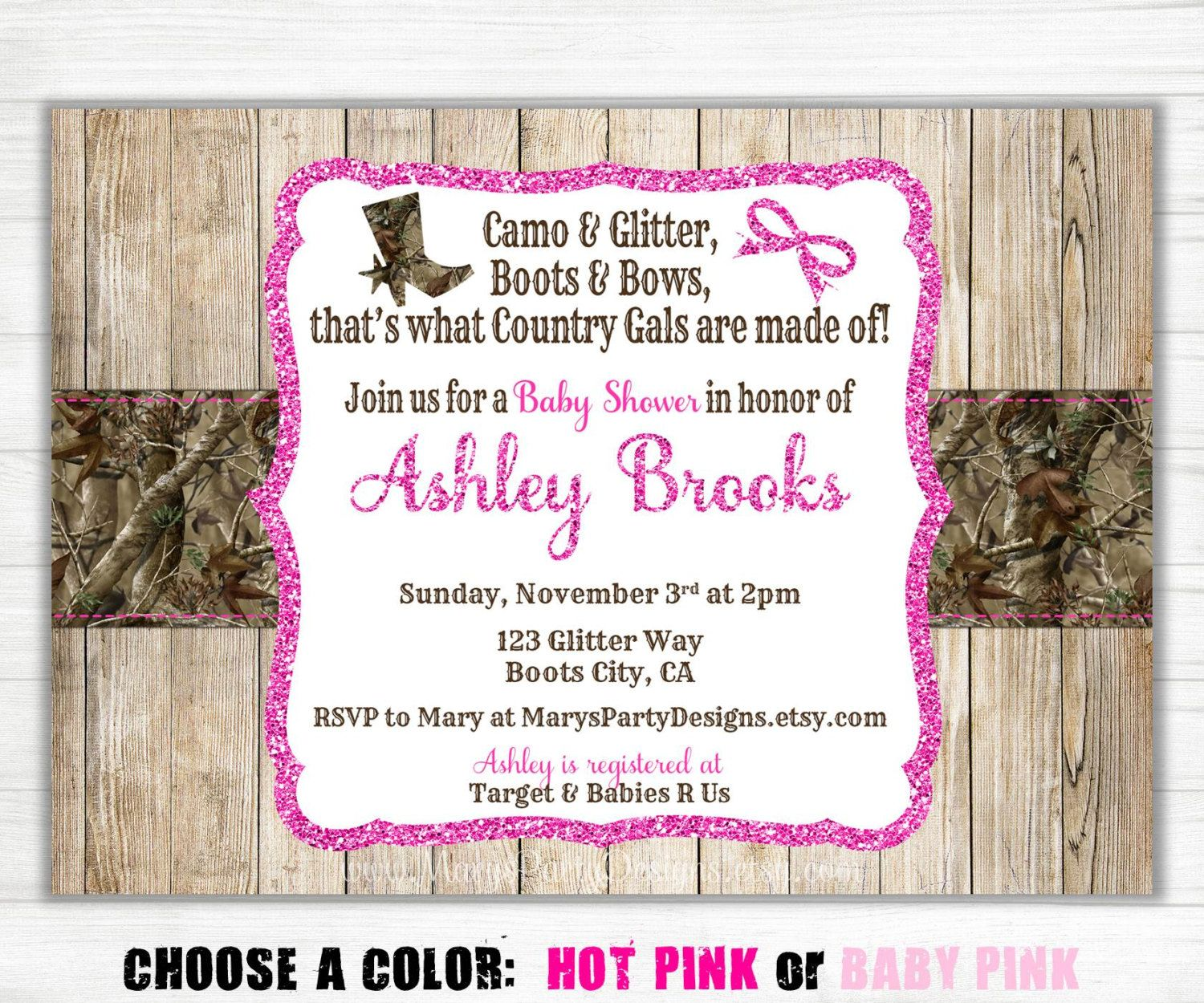 Pink Camo Baby Shower Invitation - Sprinkle Princess Hunting Girl ...