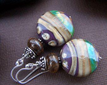 Maple Grove pendientes perlas de cristal de Murano con plata