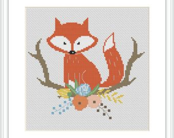 Racoon Cross Stitch Pattern For Baby Floral Antler Cross Stitch Sign