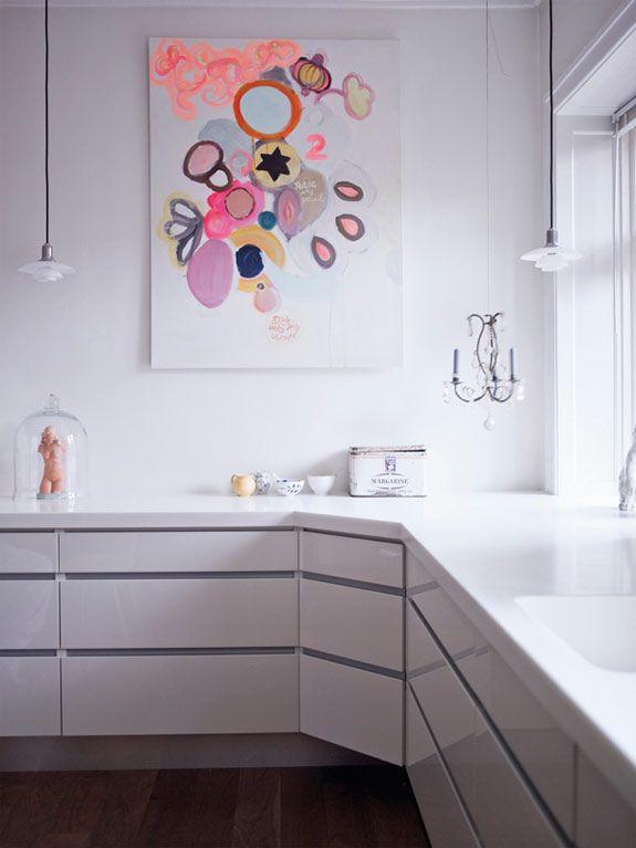 glossy white kitchen.  photo by birgitta wolfgang drejer.