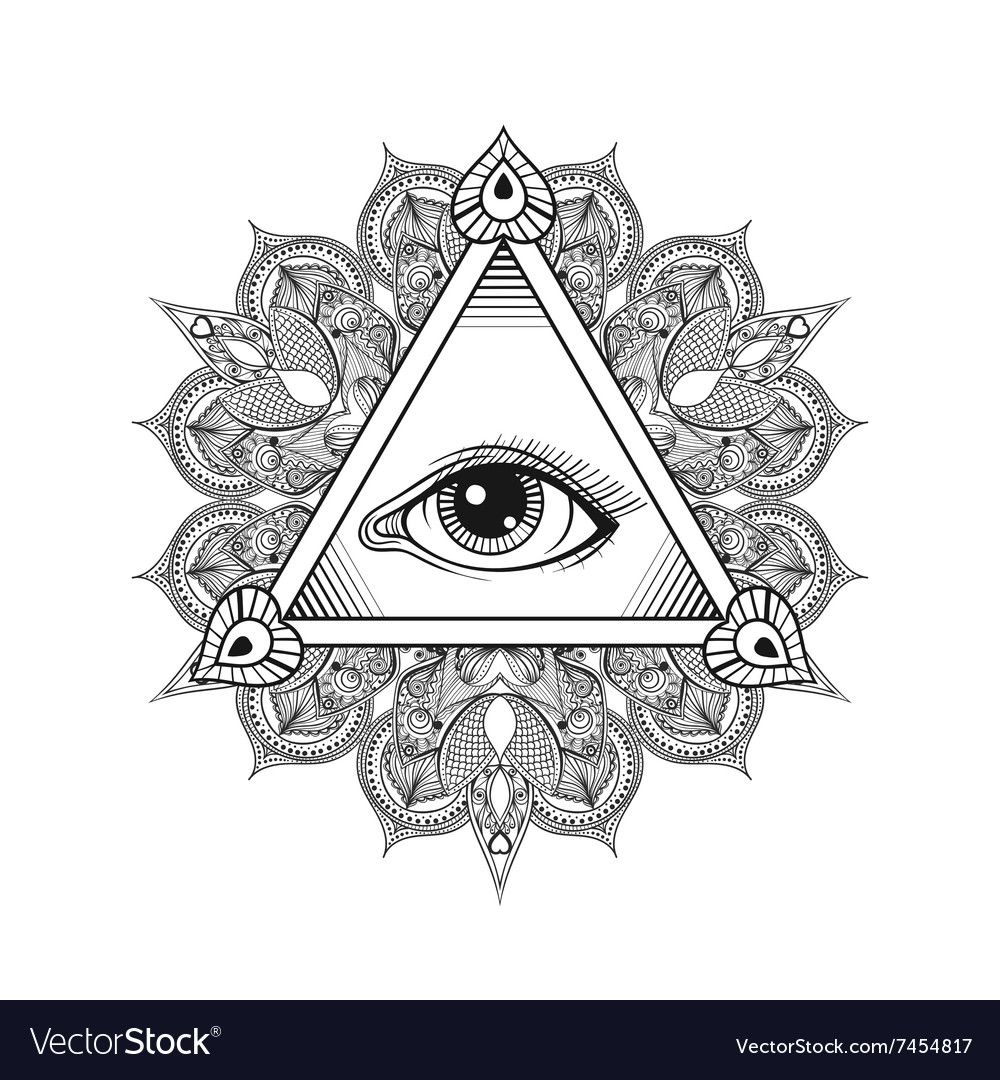 Vector All Seeing Eye Pyramid Symbol Tattoo Design Vintage Hand Drawn Freedom Spiritual Occultism And Mason Sign All Seeing Eye Pyramid Eye Masonic Tattoos