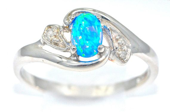 cb89c871af53b Blue Opal & Diamond Oval Ring .925 Sterling Silver Dainty Gift For ...