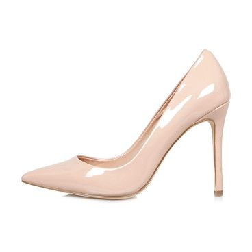 RIVER ISLAND Light Pink Patent Court Heels | Court heels, Pumps ...