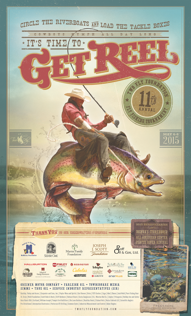 Two Fly Foundation 2015 Fly Fishing Tournament Poster Fishing Tournaments River Boat Fly Fishing
