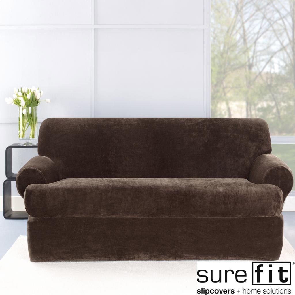 Stretch Plush Chocolate T Cushion Sofa Slipcover   Overstock Shopping   Big  Discounts On Sure