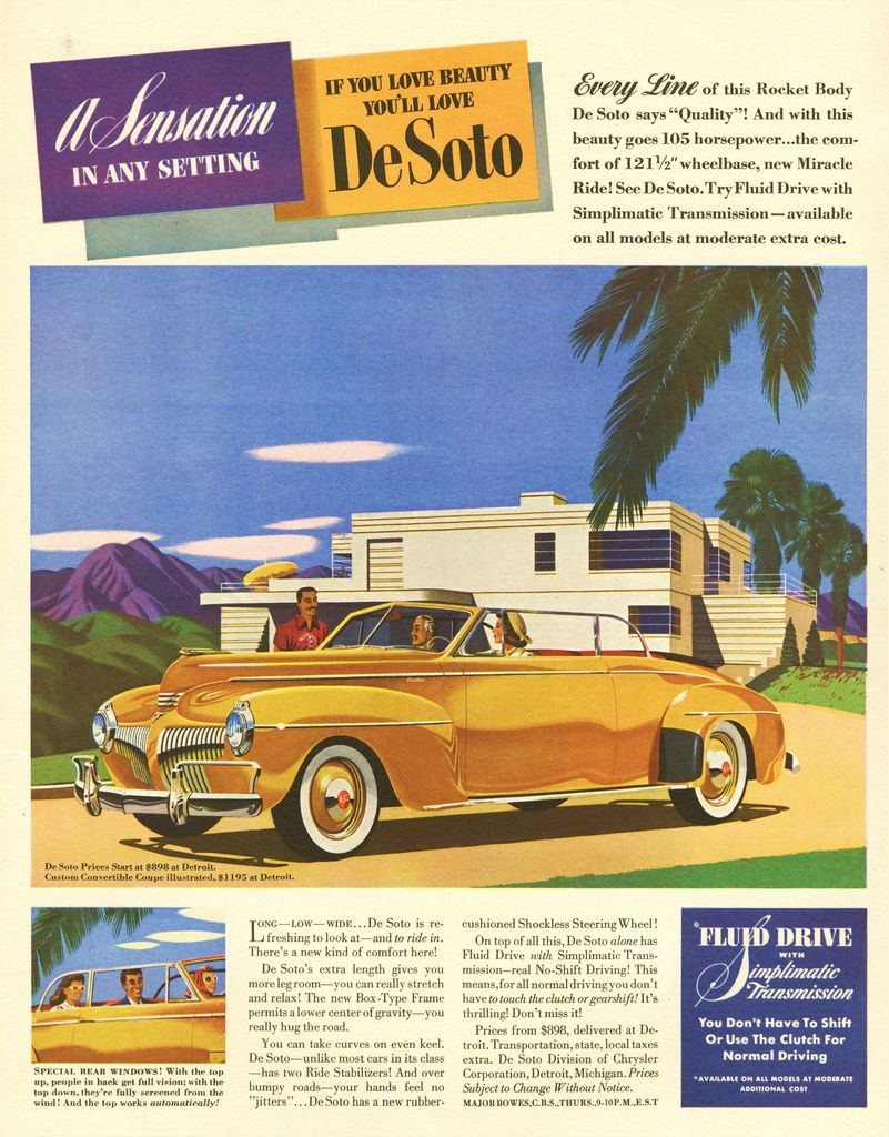 1941 DESOTO Blue 4 Door Car w// SIMPLIMATIC TRANSMISSION VINTAGE AD