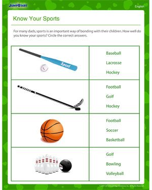 know your sports father s day worksheet father 39 s day sports different sports worksheets. Black Bedroom Furniture Sets. Home Design Ideas
