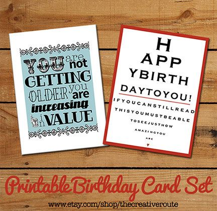 Printable Birthday Cards Set of Funny by TheCreativeRoute on Etsy – Birthdays Card Shop