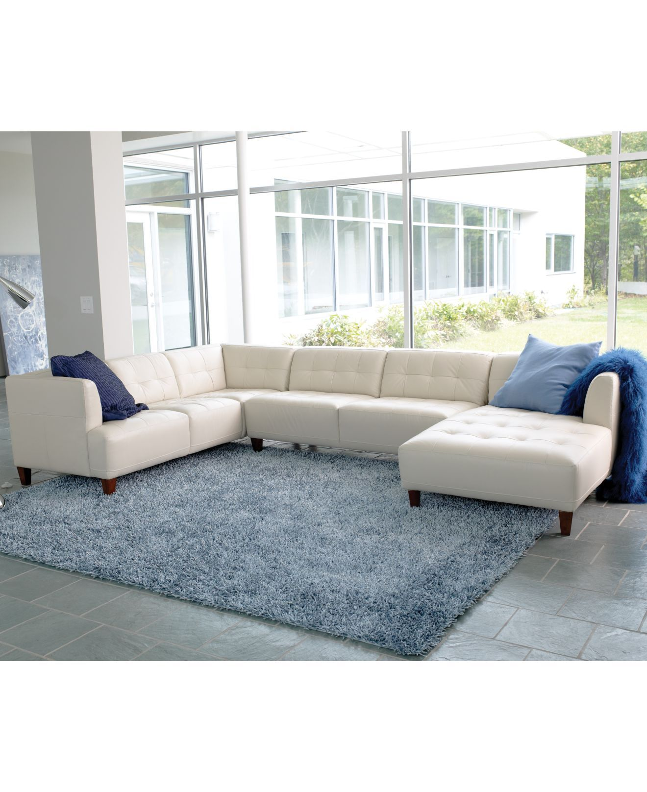 TV ROOM: Alessia Leather Sectional Living Room Furniture Sets ...