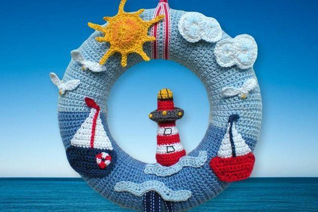 Photo of Crochet pattern door wreath maritime of colorful crocheted by Petra via DaWanda.c …