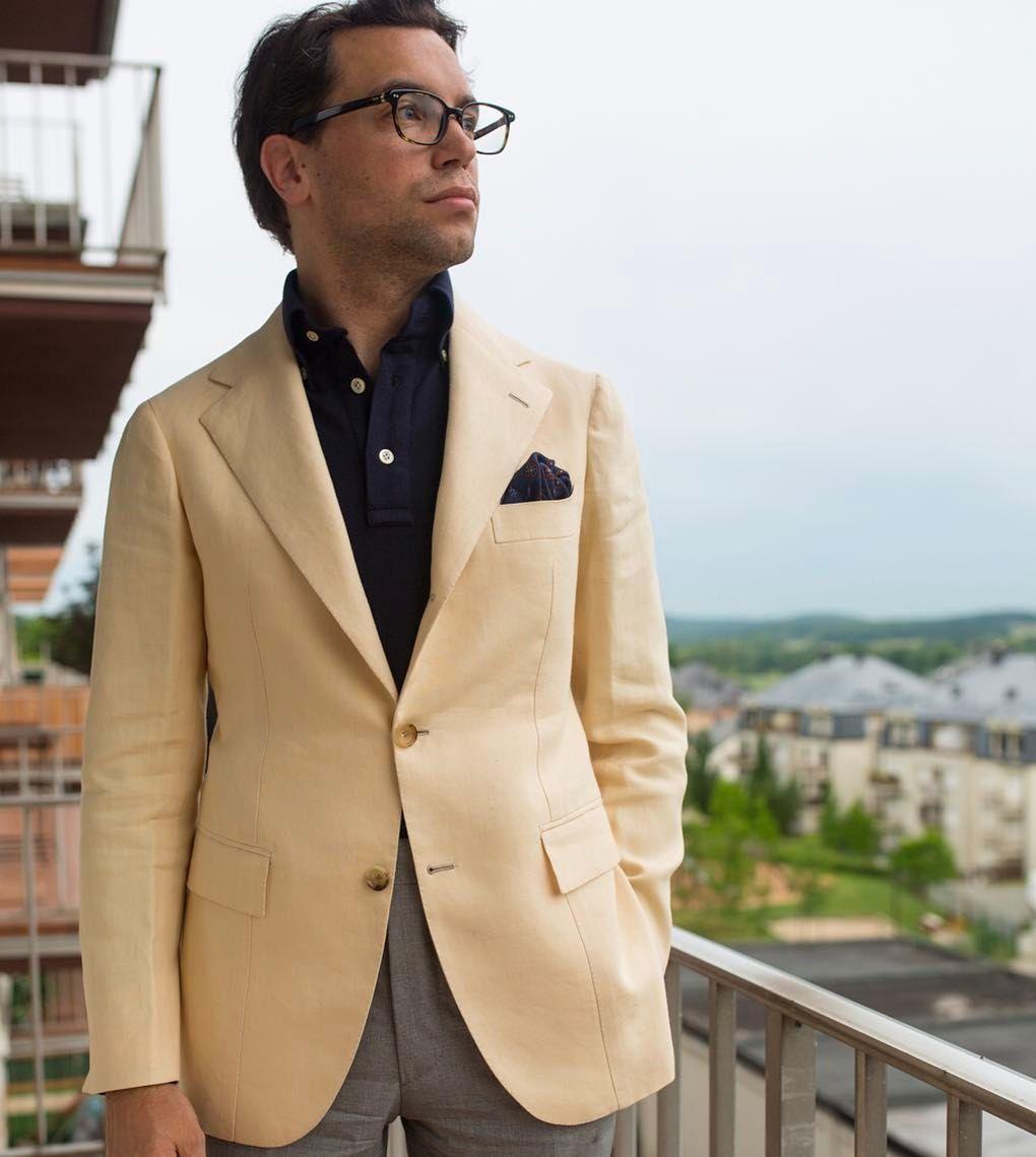 Sartoria dalcuore sport coat in wbill1846 linen polo for Polo shirt with sport coat