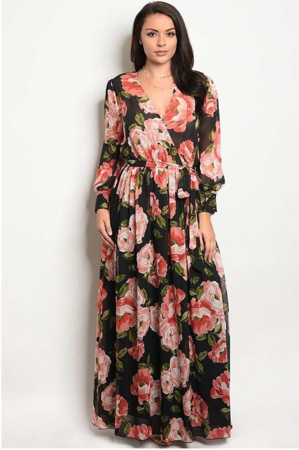 Plus size long sleeve floral print maxi products pinterest
