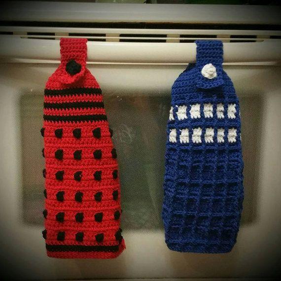Crochet Dalek or Tardis Inspired Hand Towel You by LilyLaneCrochet I ...