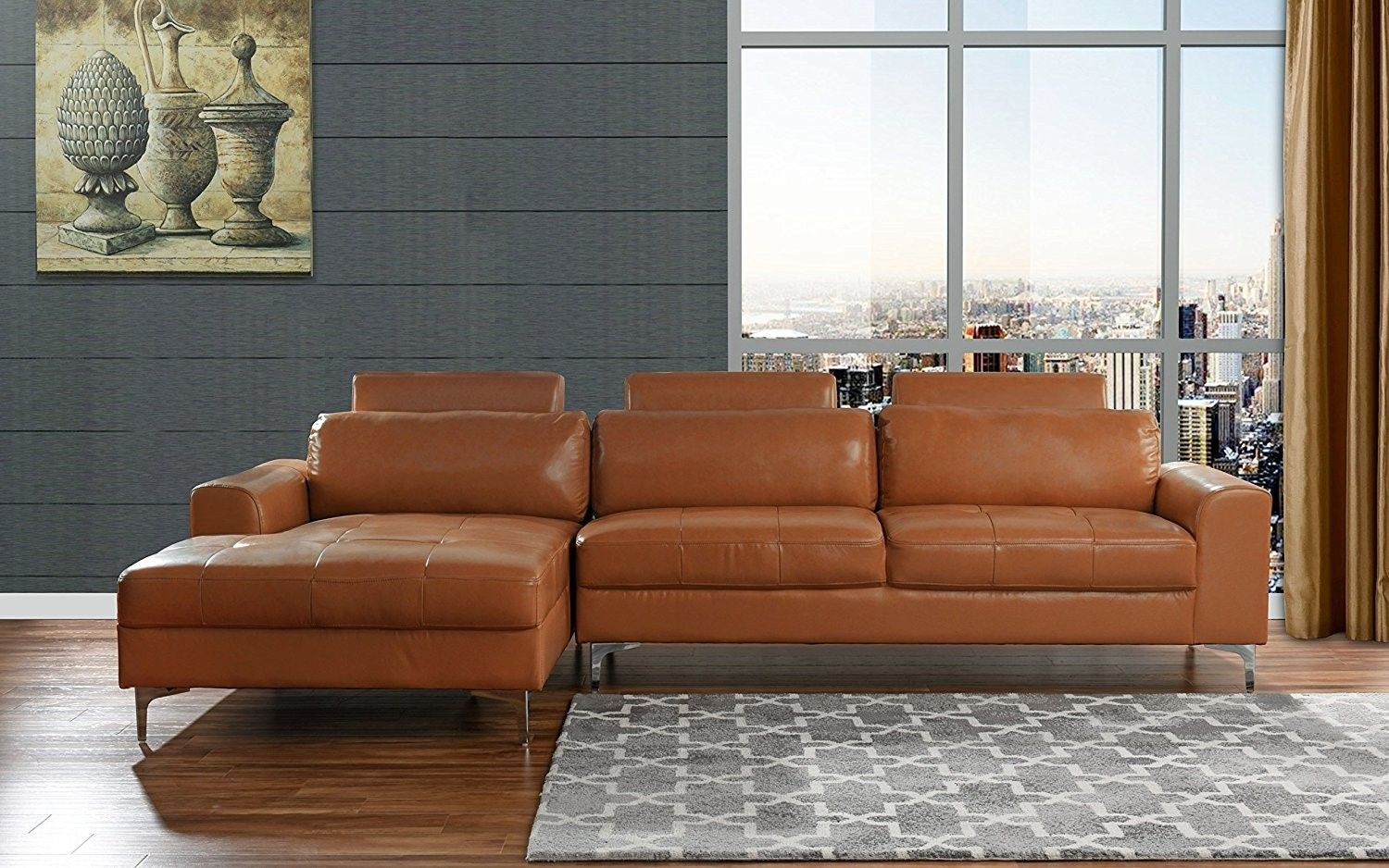 Modern Large Leather Sectional Sofa L Shape Couch With Extra Wide Chaise Lounge Camel Jet