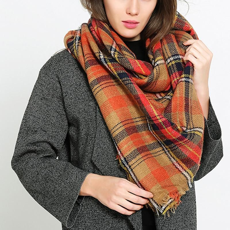 2ad85b6698899e Camouflage winter warm women square scarf and shawls faux cashmere wool  plaid blanket scarves wraps thick pashmina bufanda. Yesterday's price: US  $8.99 ...