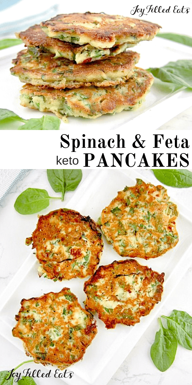 Spinach Feta Savory Pancakes - Low Carb, Keto, THM S