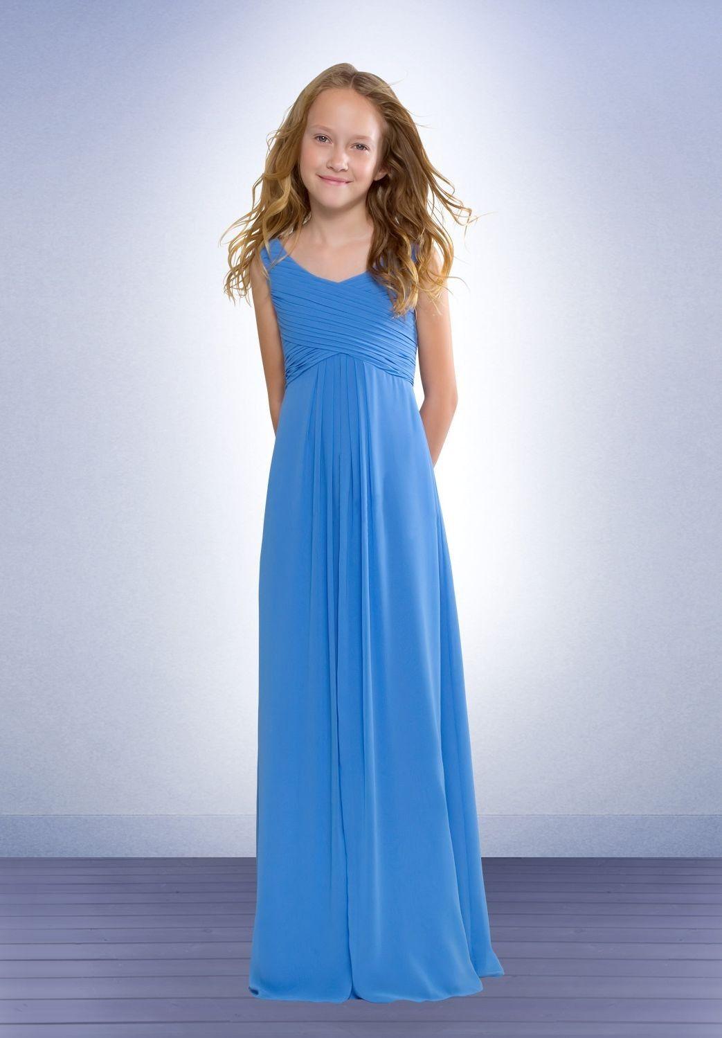 Chiffon Scoop Aline Long Junior Bridesmaid Dress
