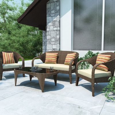 Superior DCOR Design Harrison 4 Piece Lounge Seating Group With Cushions