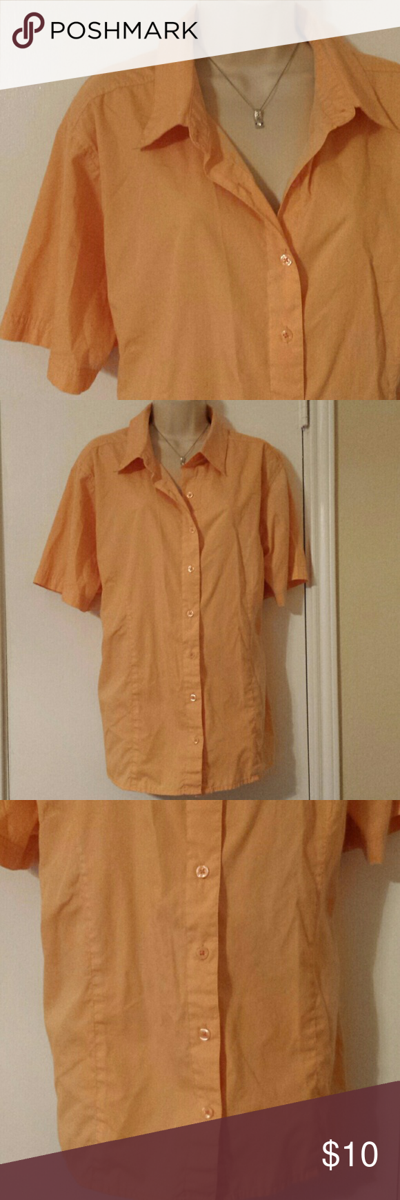 plus size 2x orangy peachy color (basic edition) Found a little dot on this shirt. It's an orange peachy color. basic edition Tops Button Down Shirts