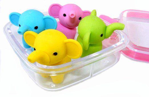 IWAKO Gommes japonaises dans un mini Bento Box-éléphants