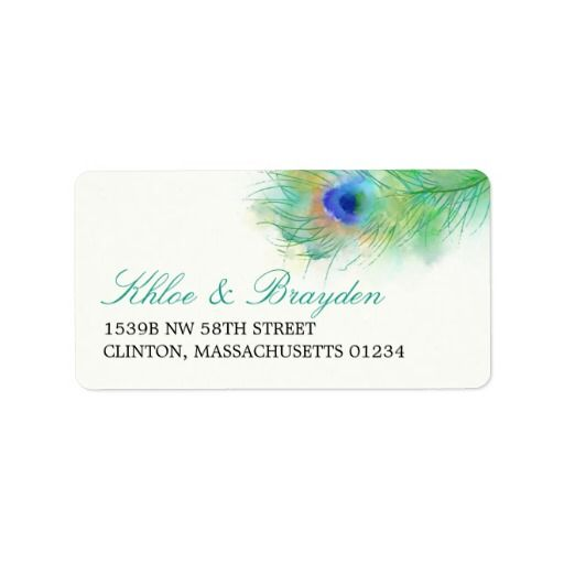 Watercolor Peacock Feather Address Custom Label