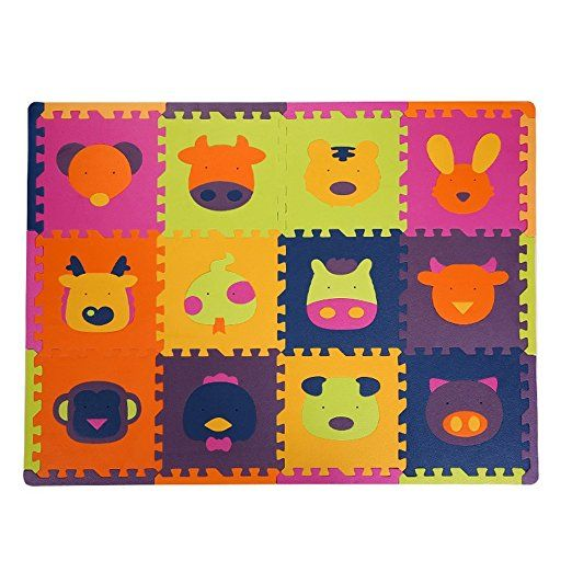 TianMel 12Pcs Animal Soft Puzzle Mats Rugs Inter-Locking