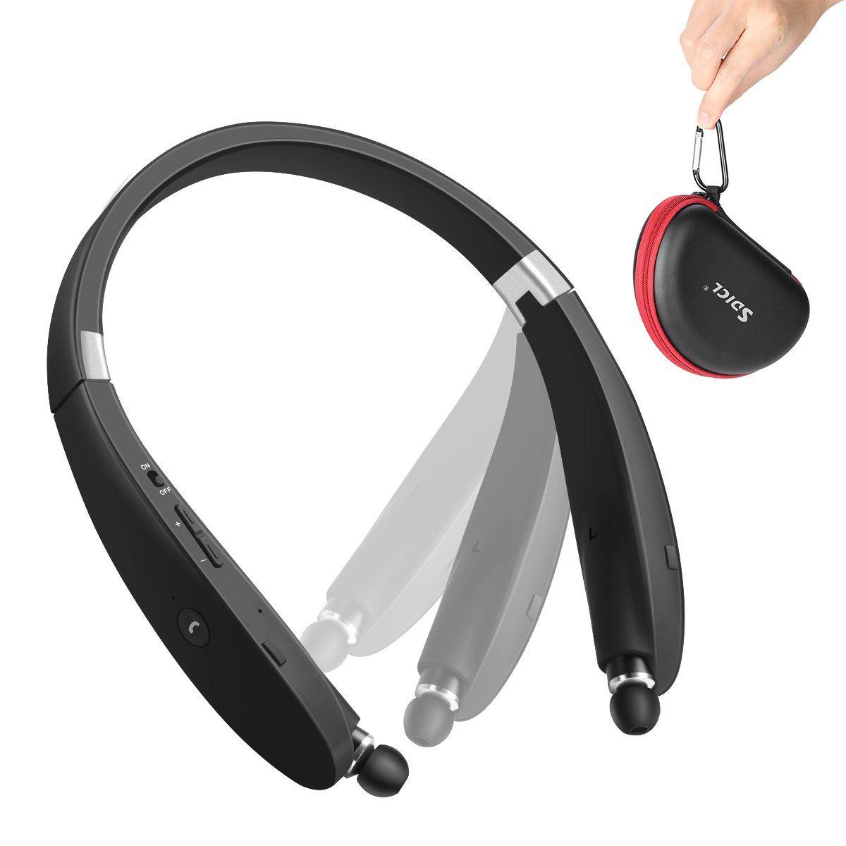 Bluetooth headset sdicl wireless stereo headphones neckband with bluetooth headset sdicl wireless stereo headphones neckband with foldable and retractable earbuds 991 black malvernweather Choice Image